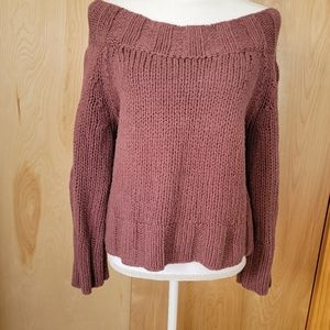 Free People Cropped Boatneck Chunky Knit Sweater